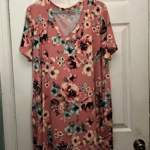 Chic Soul Floral Tee Shirt Dress Size 2X NWOT